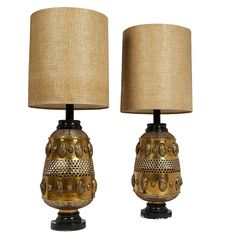 Pair of Monumental Spanish Mid-Century Brass Lamps 1