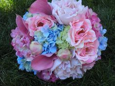 Pastel peonies, roses, hydrangea, calla lily wedding flower bouquet, bridal bouquet, wedding flowers, add pic source on comment and we will update it. www.myfloweraffair.com can create this beautiful wedding flower look.