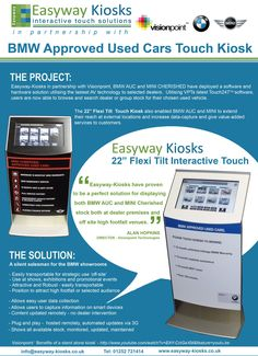 """Flexi Tilt 22"""": BMW Mini Kiosk for use within showrooms throughout the UK.  The demand for this kiosk from BMW Mini was as a sales tool for a catalog of their current second-hand car offers."""