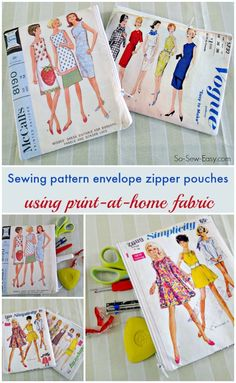 Two PDF files for a vintage sewing pattern envelope to print on fabric and sew your own sewing pattern envelope zipper pouch. Easy Sewing Projects, Sewing Hacks, Sewing Tutorials, Sewing Crafts, Beginners Sewing, Free Sewing, Vintage Sewing Patterns, Pattern Sewing, Printable Fabric