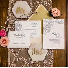 #6 - Creative Stationery In 2019 brides were letting us push the boundaries with their stationery needs.  From watercolor to wood the design styles and uniqueness were matched to the couples personalities and we loved every minute of it!  📸:  @sparkweddingphotography @dashwoodshop @adorebridals @softglamourbeauty @j.blu_design @peremarquette_weddings