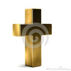 Golden Cross. 3D Render Illustration