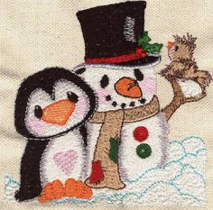 Threadsketches' set Snow in Love - Christmas machine embroidery design, penguin with snowman
