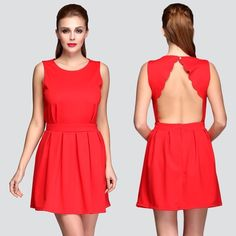 """Gorgeous Red Dress NWOT Gorgeous hot red pleated mini dress with scalloped edge open back design. Size fits XS/S; measurements approximately: chest 33.5""""; waist 26""""; length 30"""". Please use the measurements as guide to see if this will fit you. Brand new without tags! Boutique Dresses"""