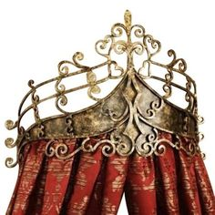 Victorian Scroll Wrought Iron Bed Crown, Baroque Tester Metal by Dr. Livingstone I Presume Bed Crown Canopy, Baroque Furniture, Bedroom Furniture, Furniture Ideas, French Provincial Furniture, Luxury Curtains, Red Curtains, Metal Crown, Diy Home Decor Bedroom