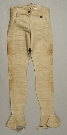 Trousers  Date: ca. 1793 Culture: European Medium: linen Dimensions: Length at Side Seam: 43 in. (109.2 cm) Credit Line: Purchase, Council of Fashion Designers of America, 1988 Accession Number: 1988.342.3