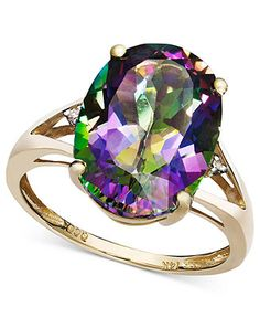 14k Gold Ring, Mystic Topaz (7-1/6 ct. t.w.) and Diamond Accent Oval Ring - Rings - Jewelry & Watches - Macy's