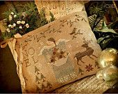 Primitive Cross Stitch Pattern - Heaven and Nature Sing Pocket Pillow
