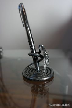 Leaf Design Pen Holder Blacksmith Hand Forged by OakbeckForge