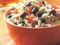 Lime Rice and Beans with Avocado and Tomato