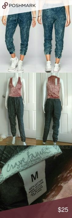 🎉HP🎉 Dark Acid Wash Denim Look Jogger Pants Super cute and comfy dark acid wash denim pants by Crave Fame Almost Famous. They have an elastic drawstring waste. They are perfect for everyday wear!   100% cotton Almost Famous Jeans