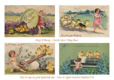 Wings of Whimsy: Easter Cherubs Collage Sheet - free to use in your personal art