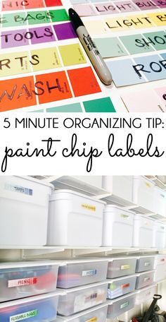 PRETTY PAINT CHIP LABELS! Labels are key to getting organized and staying organized, but they need to be quick and easy to update. These labels made from paint swatch cards are perfect for the garage, craft room, toy storage, or anywhere else around the house!
