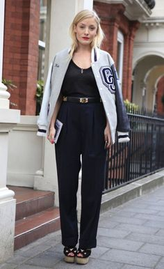 Kate Foley wearing an Opening Ceremony bomber jacket at London Fashion Week in September 2012.