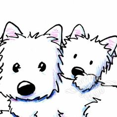 Original Westie Terriers ACEO Dog Art Drawing by KiniArt