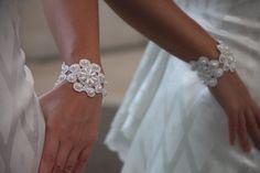Bridal lace wedding bracelet White lace flower by NevelynkaNasha, $35.00