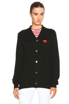 Comme Des Garcons PLAY Wool Red Heart Emblem Cardigan in Black $415
