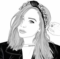 outline, art, and drawing image Tumblr Outline, Outline Art, Outline Drawings, Cute Drawings, Drawing Sketches, Girl Drawings, Drawing Ideas, Tumblr Girl Drawing, Tumblr Drawings