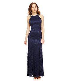 B. Darlin High Neckline Multi-Strap Lace Gown