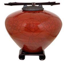 Raku Ceramic Cremation Urn for ashes by DoderoStudioCeramics