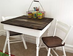 table and chairs LOVE  THEM! have to find a cheap set and paint them myself. maybe make the top a chalkboard instead??