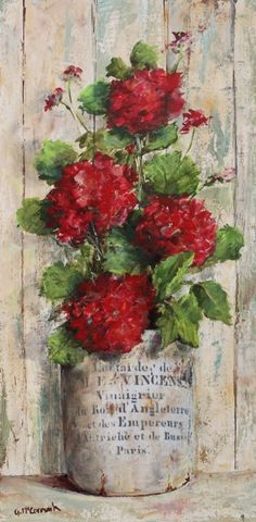 Red Geraniums in french containger