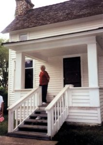 Laura Ingall Wilder's Rocky Ridge Farm, Mansfield, MO. Tour guide on front porch.