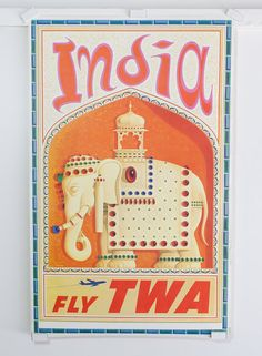 Original 1950's TWA India Tourism by vintagecollectorshop on Etsy, $400.00
