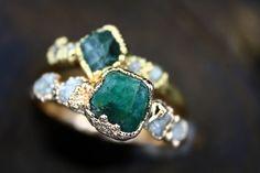 Emerald Sea - Emerald Uncut Diamond Ring, Raw Diamond Rings, Diamond Wedding Rings, Raw Stone Engagement Rings, Alternative Engagement Rings, Engagement Ring Sizes, Bohemian Wedding Rings, Raw Emerald, Sea