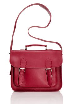 LEADERS IN LEATHER Top Handle Messenger  Adding a bright messenger perks up your outfit for summer.  Too cute! Love the berry color.