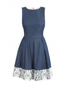 Closet Lace Contrast Denim Dress