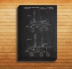 CANVAS - Mars Rover Patent, Mars Rover Poster, Mars Rover Print, Mars Rover Art, Mars Rover Decor, Mars Rover Blueprint, Mars Rover Design by STANLEYprintHOUSE  34.99 USD  We use a specially manufactured cotton blend canvas for archival printing, and high end printers to produce a stunning quality canvas that's made to last.  The printing technology used for the canvas is eco-solvent.  Our art is guaranteed to turn heads and will make a great affordab ..  https://www.etsy.com/ca/li..