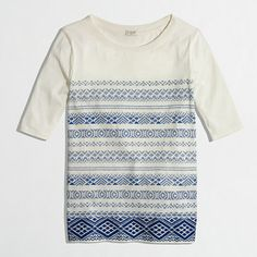 printed embroidered stripe top / j.crew factory