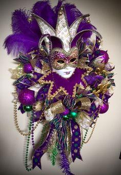 Hey, I found this really awesome Etsy listing at https://www.etsy.com/listing/265054857/mardi-gras-lady-jester-wreath-mardi-gras