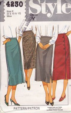 Style 4230 Straight Skirts Pattern 1980s Vintage Sewing Pattern Split Seam Button Trim Size 8 10 12 UNCUT Factory Folded