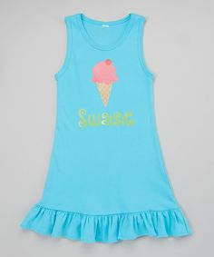 This Blue Ice Cream Ruffle Personalized Tank - Toddler & Girls by Lima Bean Kids is perfect! #zulilyfinds