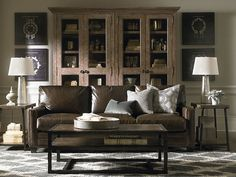 Custom Leather Ladson Sofa by Bassett Furniture conveys casual sophistication and comfort.