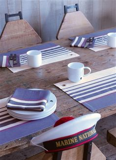 Gorgeous Table Linens for a seaside table. Pirates Table Linens by Le Jacquard Francais.