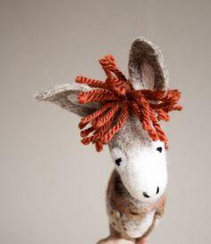 Peppino  Felt Donkey. Art Toy.  Marionette Puppet by TwoSadDonkeys