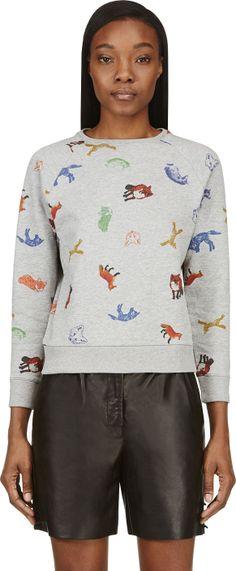Maison Kitsuné Heather Grey Fox Print Sweater