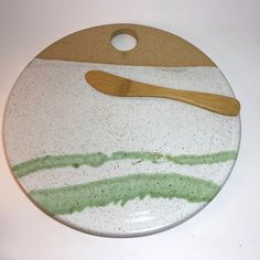 Cheese Stone - Tapas Plate - Natural Clay with Green Spash Ready to Ship by bridgespottery on Etsy https://www.etsy.com/listing/485897728/cheese-stone-tapas-plate-natural-clay