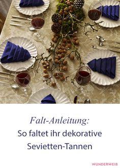 Diese Servietten-Tannen machen sich toll auf deiner Weihnachtstafel!