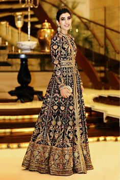 Indian Pakistani Bridal Anarkali Suits & Gowns Collection Wedding Fancy Anarkali suits for Asian brides in best designs and styles. Bridal Anarkali Suits, Pakistani Bridal Dresses, Pakistani Outfits, Bridal Lehenga, Indian Outfits, Indian Party Wear Gowns, Silk Gown, Indian Attire, Bridal Outfits