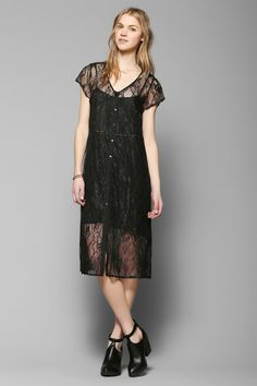 Pins And Needles Lace Button-Front Midi Dress - Urban Outfitters