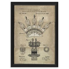 Williston Forge 'Steinway Screw Clamp Patent' Framed Graphic Art Print Matte Color: White, Size: H x W Framed Wall Art, Framed Prints, Pigment Ink, Hand Painting Art, Clamp, Discount Designer, Picture Frames, Graphic Art, Branding Design