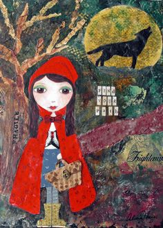 Little Red Riding Hood Mixed Media Collage di di AliciaHayesArt