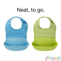 These genius bibs are the answer to all your mealtime prayers. Sturdy, washable fabric closes with velcro for baby's comfort, and wipes clean in a snap, while the wide silicone bottom catches stray food. Travels beautifully - pack your spoon in the bib's pocket, roll up and take it anywhere! 2-pack - $19.99! http://www.pishposhbaby.com/oxo-tot-roll-up-bibs-2-pack.html