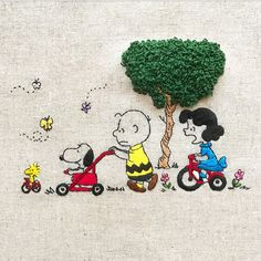 Spring has come! * * Peanuts Cartoon, Peanuts Snoopy, Snoopy Love, Snoopy And Woodstock, Hand Embroidery Patterns, Embroidery Stitches, Snoopy Comics, Snoopy Wallpaper, Snoopy Quotes