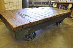 Oklahoma Barn Market: Industrial Cart Coffee Table I really want this to replace the coffee table in the bar!!!