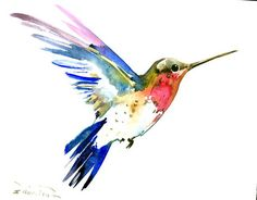 Hummingbird flying Original watercolor painting 10 by ORIGINALONLY